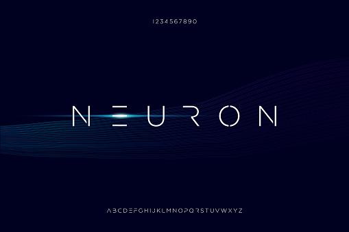 Neuron, a modern minimalist futuristic alphabet font design