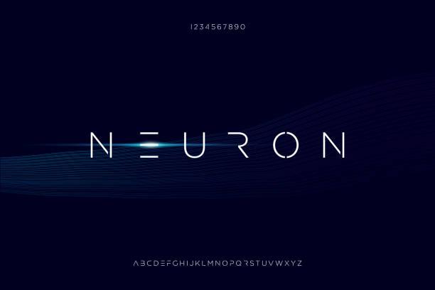 Neuron, a modern minimalist futuristic alphabet font design an Abstract technology futuristic alphabet font. digital space typography vector illustration design futuristic stock illustrations