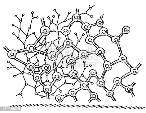 Hand-drawn vector drawing of an Abstract Neuronal Network, Science Image. Black-and-White sketch on a transparent background (.eps-file). Included files are EPS (v10) and Hi-Res JPG.