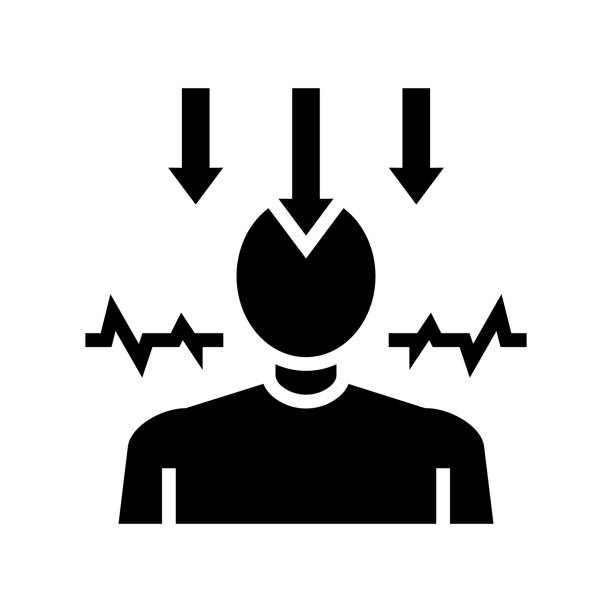 stockillustraties, clipart, cartoons en iconen met neurose psychologische ziekte glyph pictogram vector illustratie - paranoïde