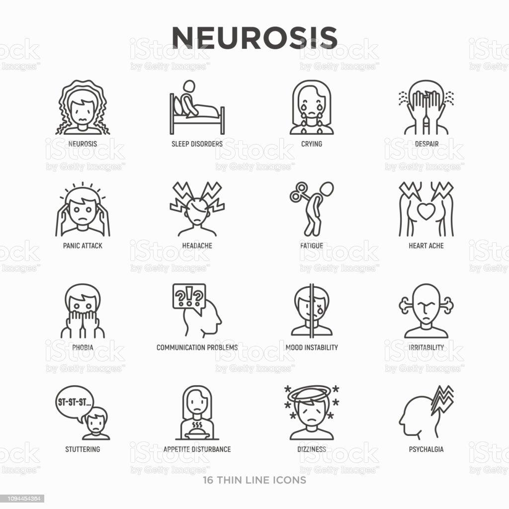 신경 증 선 아이콘 세트: 공황 공격, 두통, 피로, 불면증, 절망, 공포증, 기분 불안정, 망가, psychalgia, 현기증. 현대 벡터 일러스트입니다. - 로열티 프리 건강관리와 의술 벡터 아트
