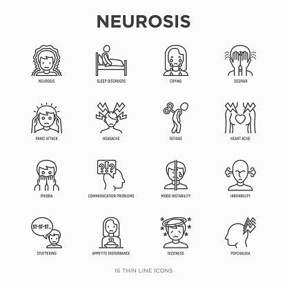 Neurosis Thin Line Icon Set Panic Attack Headache Fatigue
