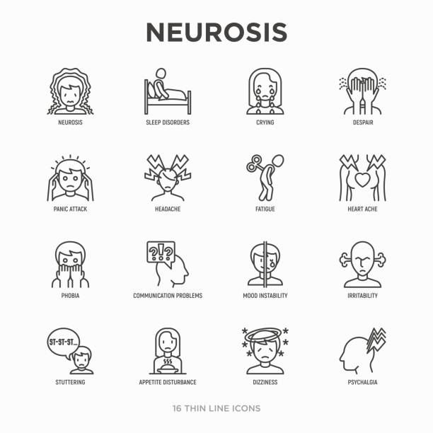 Neurosis thin line icon set: panic attack, headache, fatigue, insomnia, despair, phobia, mood instability, stuttering, psychalgia, dizziness. Modern vector illustration. Neurosis thin line icon set: panic attack, headache, fatigue, insomnia, despair, phobia, mood instability, stuttering, psychalgia, dizziness. Modern vector illustration. inconvenience stock illustrations