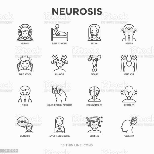 신경 증 선 아이콘 세트 공황 공격 두통 피로 불면증 절망 공포증 기분 불안정 망가 Psychalgia 현기증 현대 벡터 일러스트입니다 건강관리와 의술에 대한 스톡 벡터 아트 및 기타 이미지