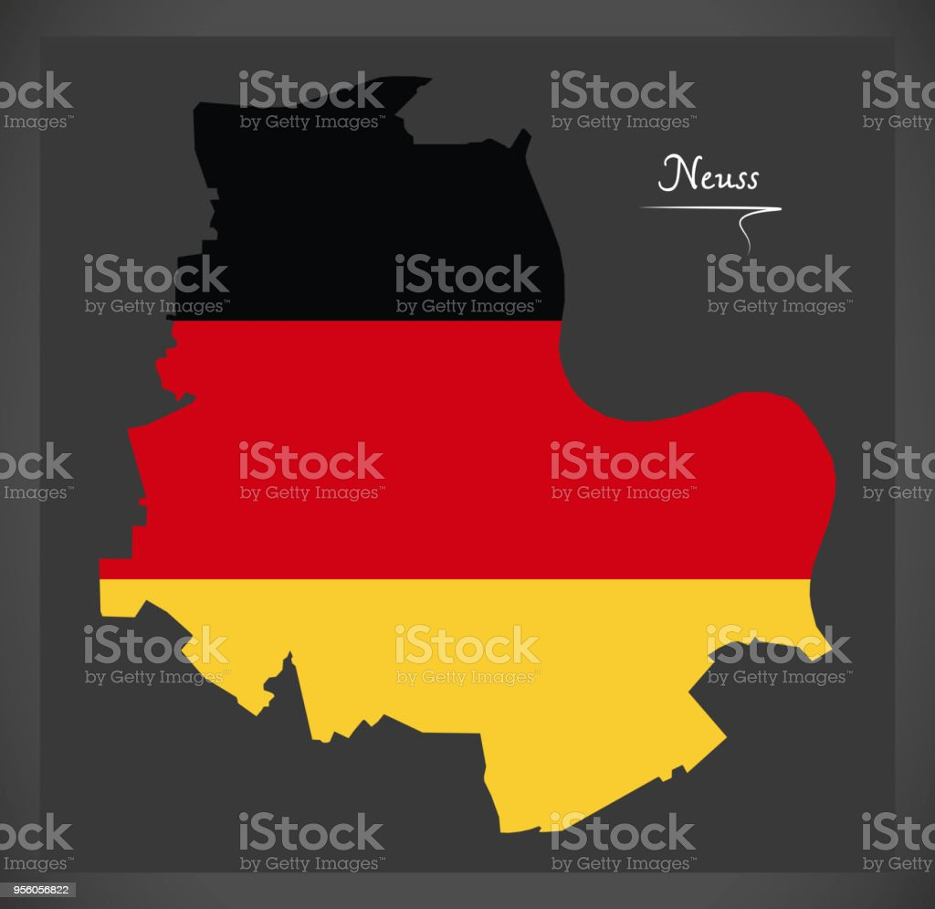 Neuss Map With German National Flag Illustration Stock Vector Art