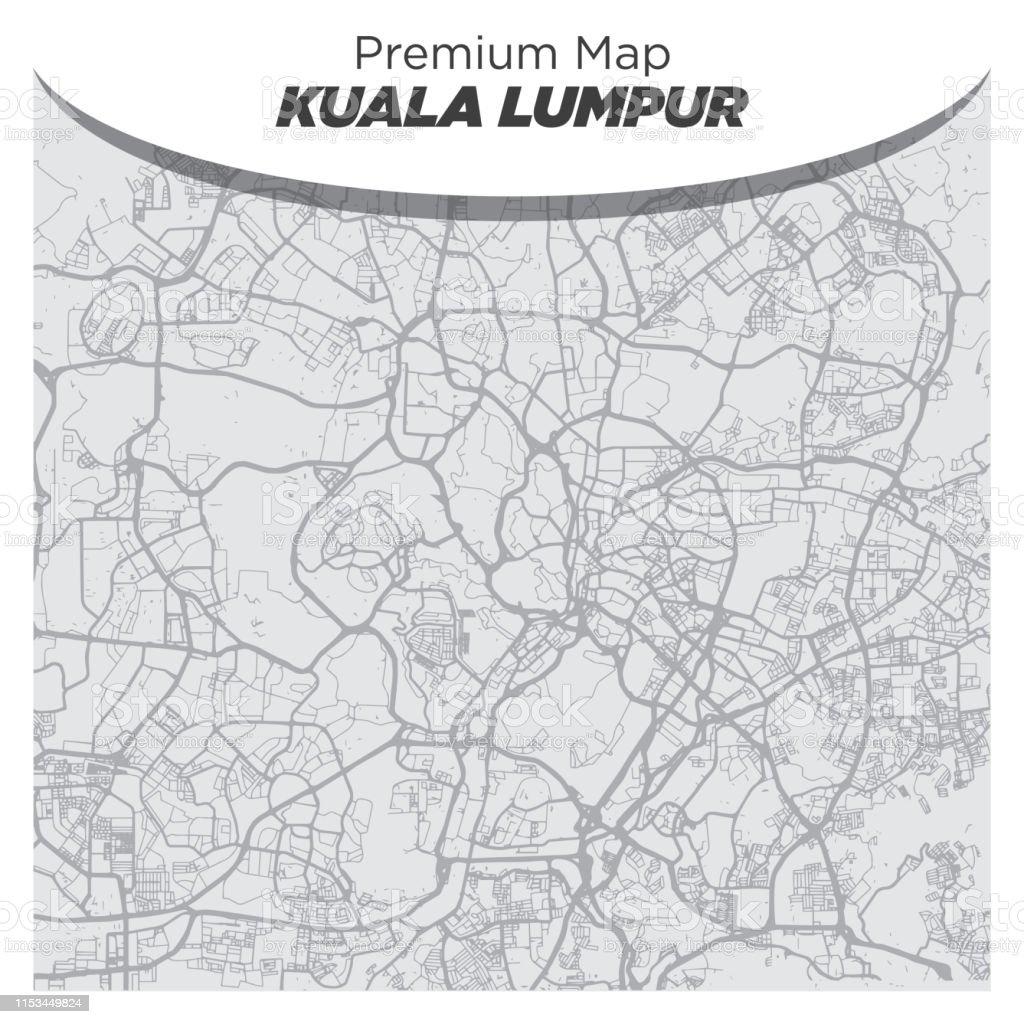 Carte Neutre Noir Et Blanc De Kuala Lumpur Malaisie Vecteurs