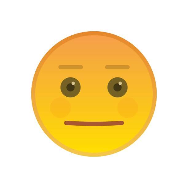 neutrale emoticon isoliert auf weißem hintergrund - faules emoji stock-grafiken, -clipart, -cartoons und -symbole