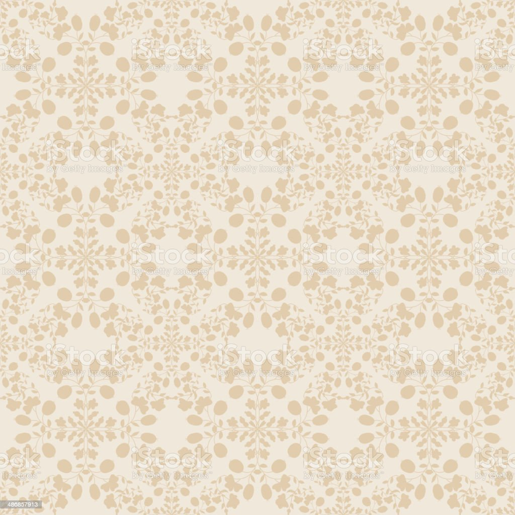 Neutral Floral Wallpaper Plant Swirls And Curves Stock