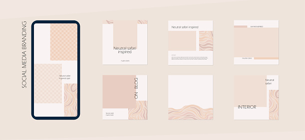 neutral nude safari Instagram social media feed branding template. background layout mockup in beige colors. for interior, architecture, beauty, cosmetics, fashion content. minimal vector design