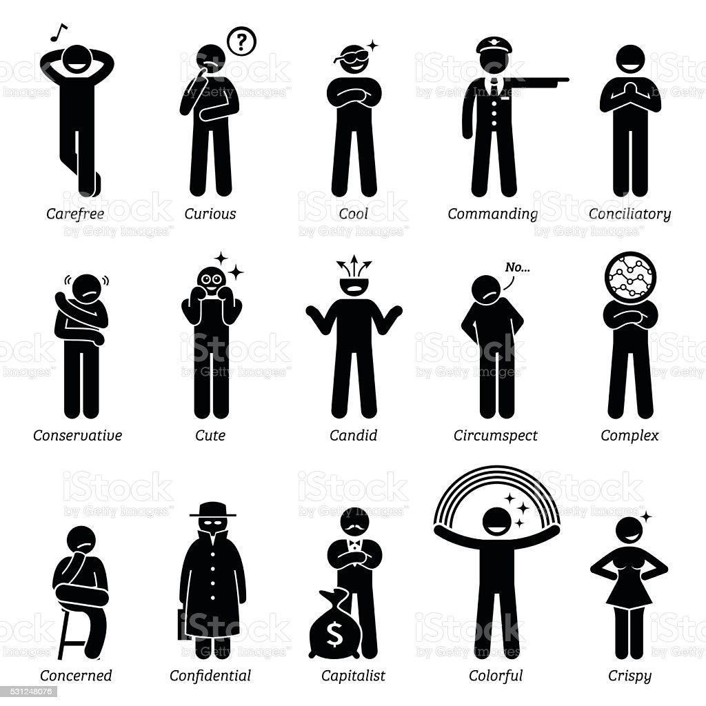 Personnalités Traits de caractère neutre. Bâton Chiffres icônes de l'homme. - Illustration vectorielle
