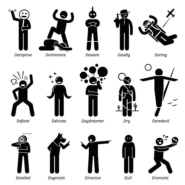 Neutral Personalities Character Traits. Stick Figures Man Icons. Neutral personalities traits, attitude, and characteristic. Deceptive, dominance, deviant, deadly, daring, defiant, delicate, daydreaming, dry, daredevil, detailed, dogmatic, directive, dull, and dramatic. careless stock illustrations