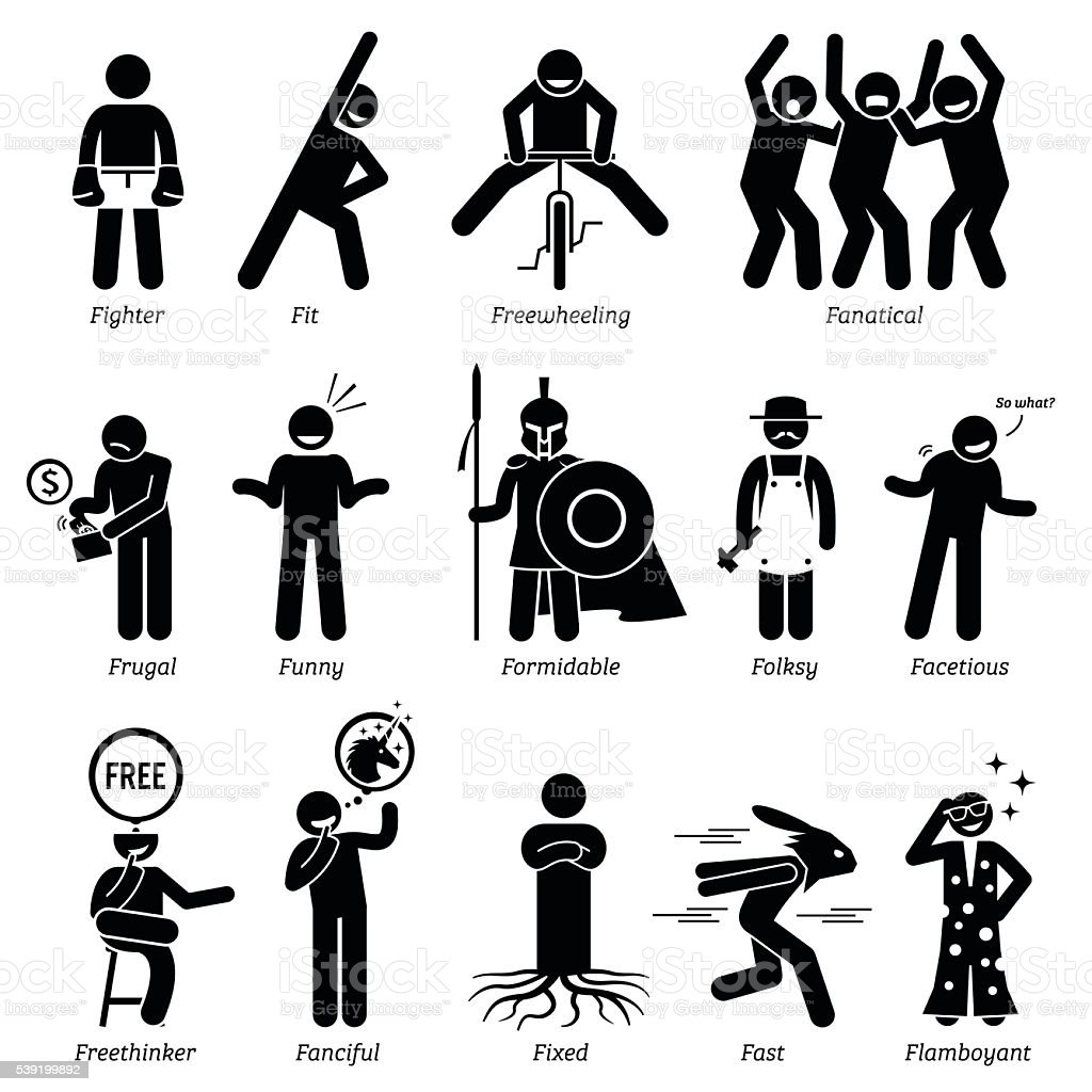 Neutral Personalities Character Traits. Stick Figures Man Icons. vector art illustration
