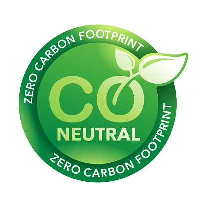 CO2 neutral sticker - net zero carbon footprint