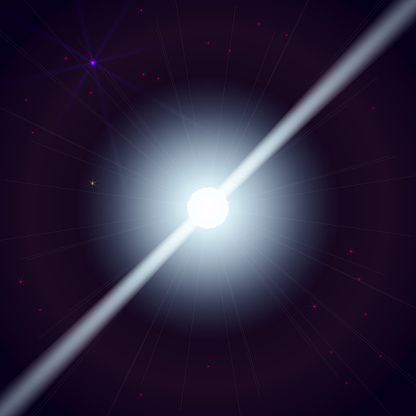 Neutron star makes radiation ray waves in the deep universe. Vector illustration