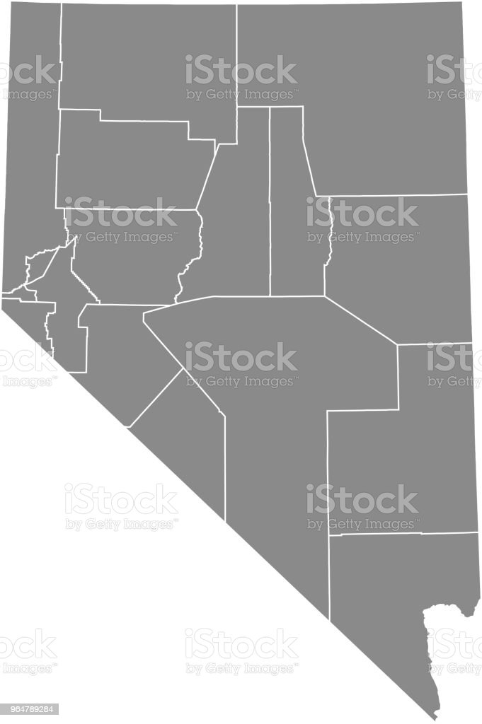 Nevada County Map Vector Outline Gray Background Map Of ...