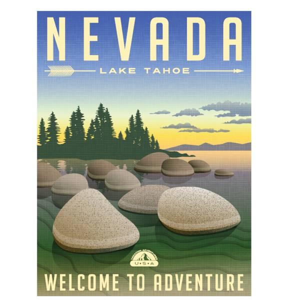 Nevada, Lake Tahoe United States retro travel poster or luggage sticker vector illustration Nevada, Lake Tahoe United States retro travel poster or luggage sticker vector illustration lakeshore stock illustrations