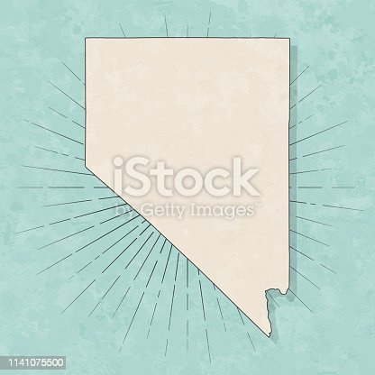 Map of Nevada in a trendy vintage style. Beautiful retro illustration with old textured paper and light rays in the background (colors used: blue, green, beige and black for the outline). Vector Illustration (EPS10, well layered and grouped). Easy to edit, manipulate, resize or colorize.