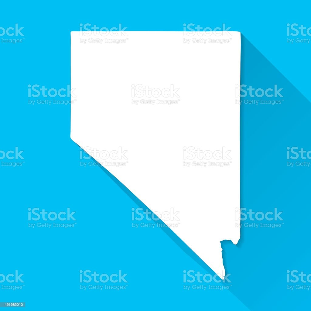 Nevada Map on Blue Background, Long Shadow, Flat Design vector art illustration