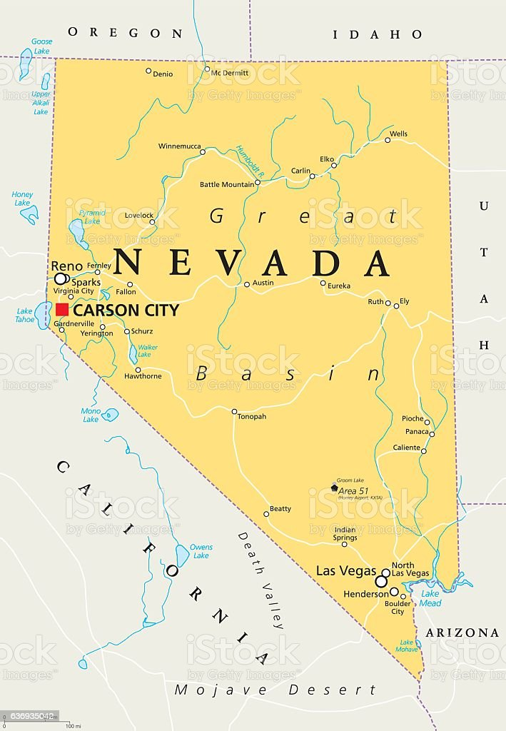 Nevada Political Map Stock Vector Art & More Images of Arizona ...