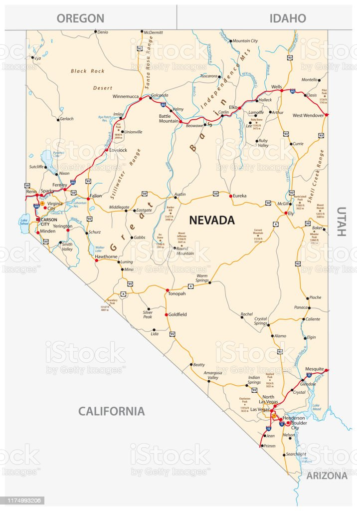 Nevada Road Map With Interstate Us Highways And Federal ...