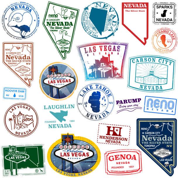 ilustraciones, imágenes clip art, dibujos animados e iconos de stock de sellos de monumentos del estado de nevada - sparks