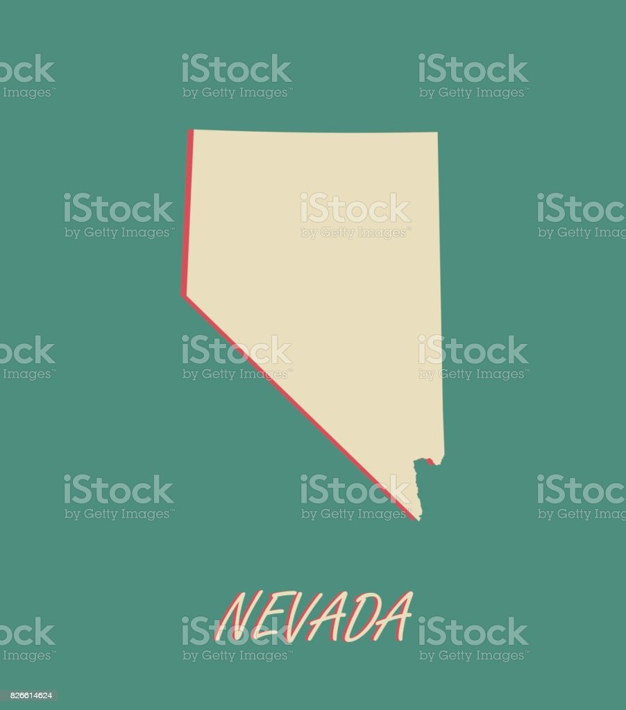 Nevada State Of Usa Map Vector Outlines In A D Illustration - Nevada on the us map