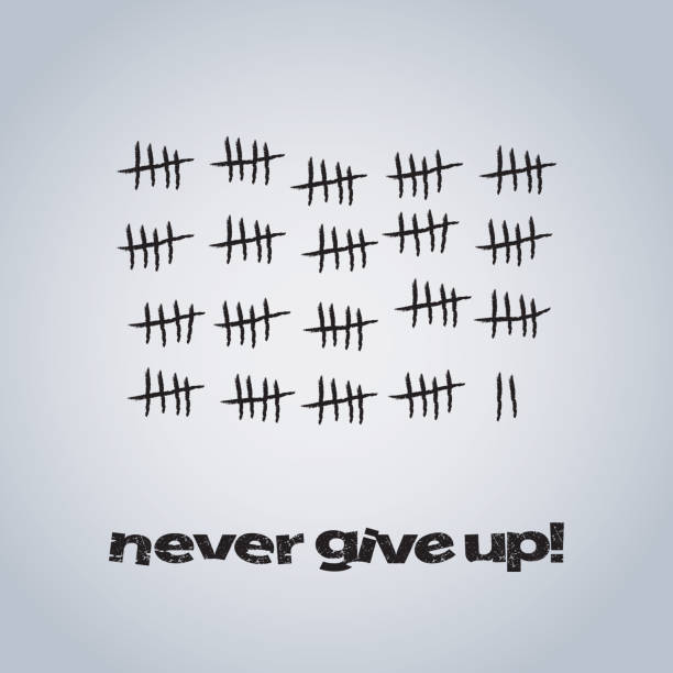 Never Give Up - Concept Design Black and White Time and Progress Concept Background Design in Editable Vector Format counting stock illustrations
