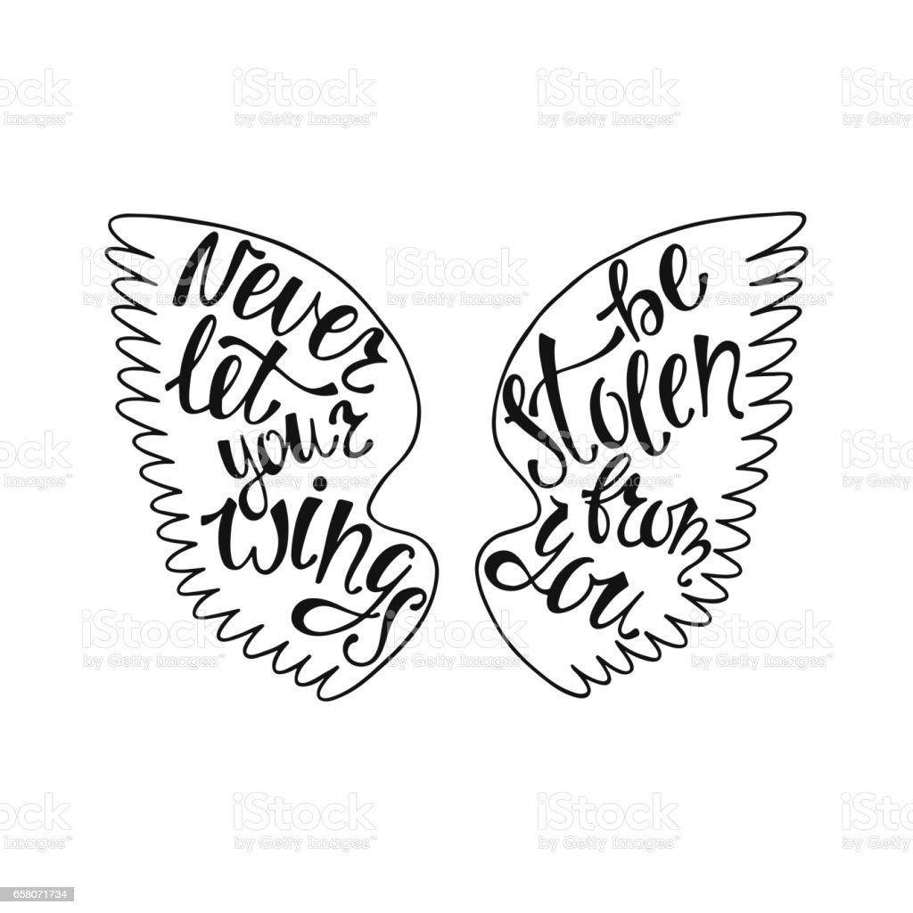 Never let your wings be stolen from you. royalty-free never let your wings be stolen from you stock vector art & more images of angel