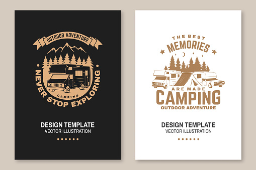 Never stop exploring. Summer camp. Vector illustration Concept for shirt or logo, print, stamp or tee. Vintage typography design with RV Motorhome, mountain and forest silhouette.