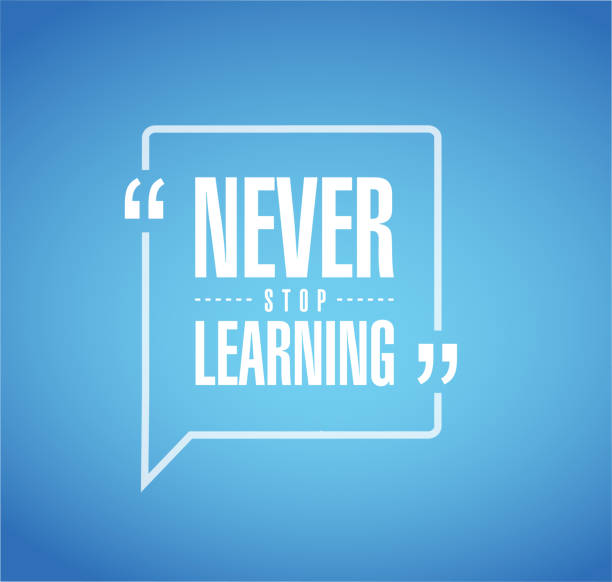 never stop learning message bubble - zawód stock illustrations