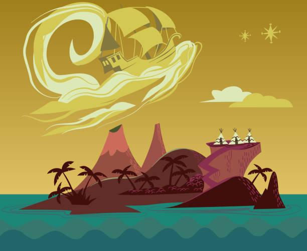 Neverland Island with Pirate Ship - retro illustration vector illustration - Neverland Island peter pan stock illustrations