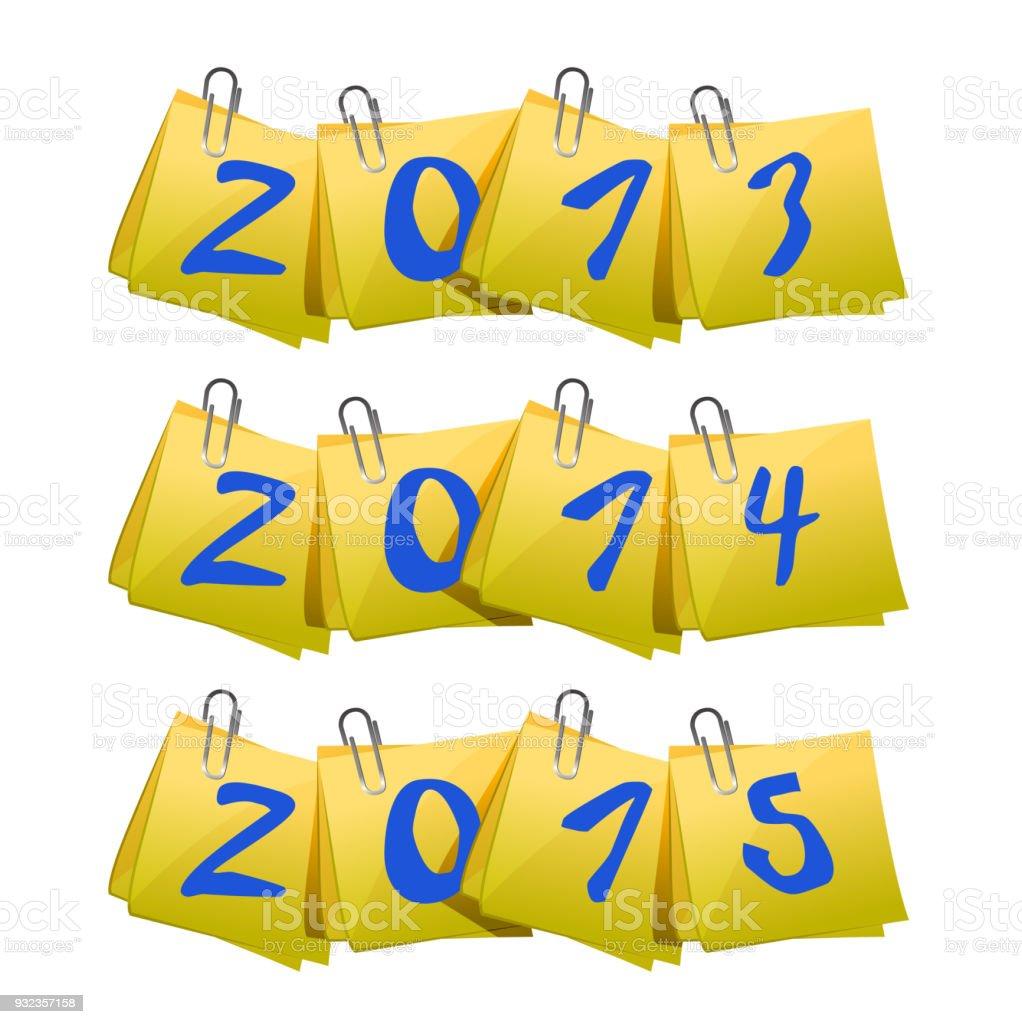 New 2013, 2014, 2015 Year on sticky notes illustration design over white vector art illustration