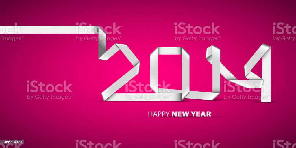 New 2014 year greeting card, banner, made in origami style royalty-free stock vector art