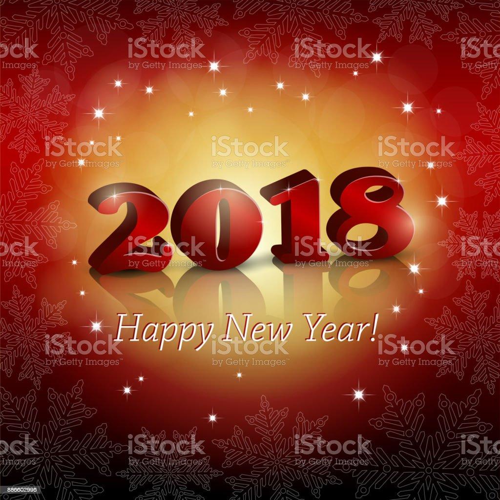 2018 Neujahr Gruß Auf Rotem Grund Vektor Illustration 886602996 | iStock