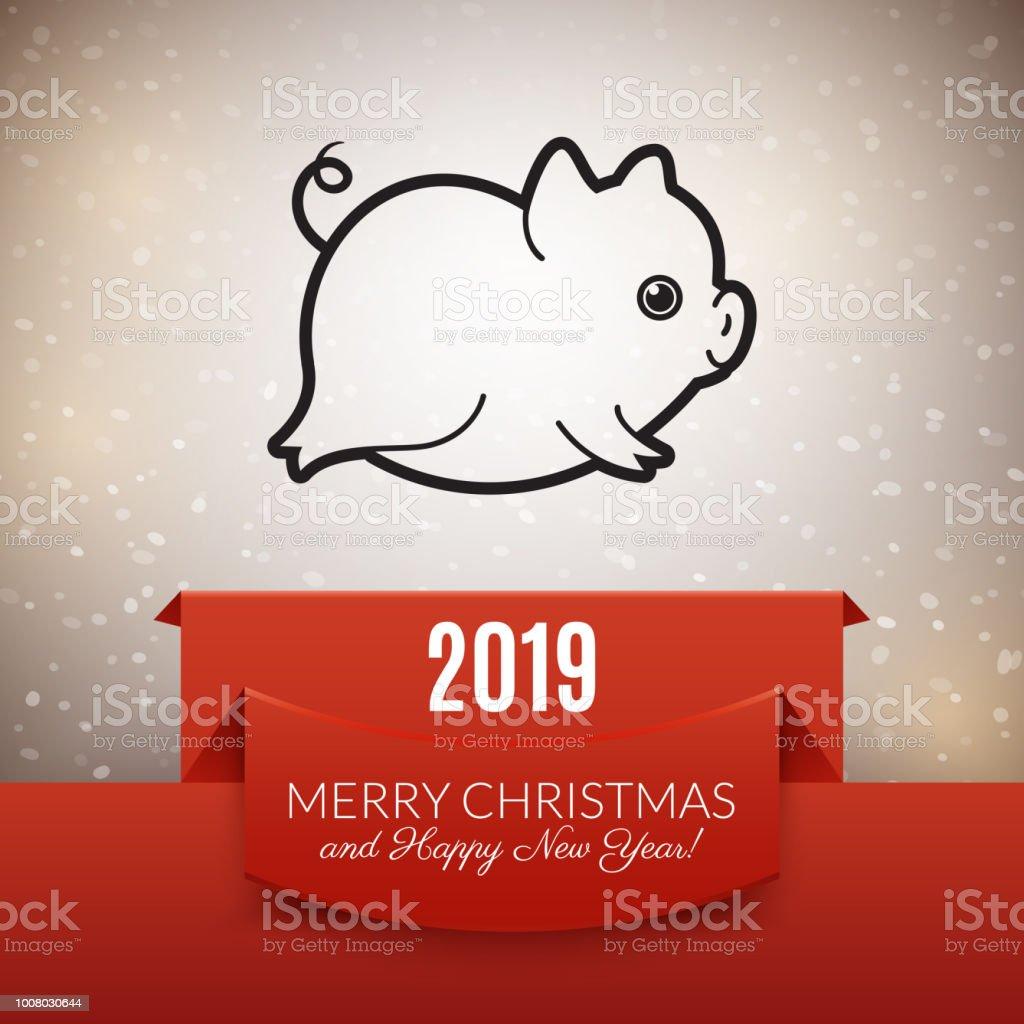 2019 Neujahr Schwein Postkartendesign Niedliche Tiersymbol