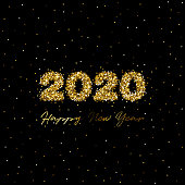 New 2020 Year Greeting Card in Gold Glitter. Original Artwork Vector Illustration. This square composition can be a postcard, invitation, poster or flayer.