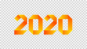 New 2020 year paper card made in origami style with orange number 2020. Perfect for presentations, flyers and banners, leaflets, postcards and posters. Vector illustration.