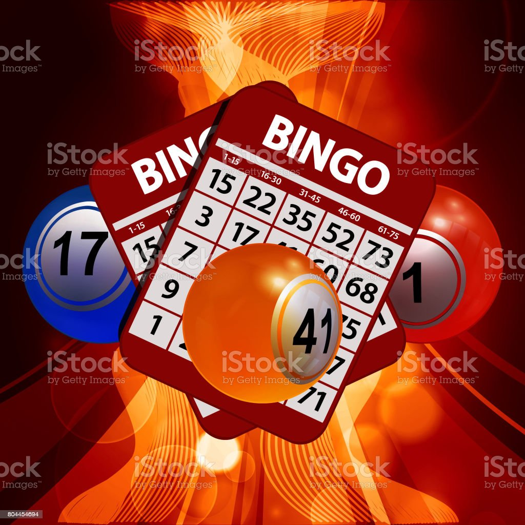 New 3D Bingo balls and cards on glowing background vector art illustration