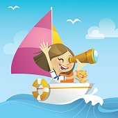 Vector illustration of a happy girl sailing away in the rough sea, holding a telescope and looking forward to her adventures ahead. File in EPS10 format with transparency effect, character and background can be separate easily.