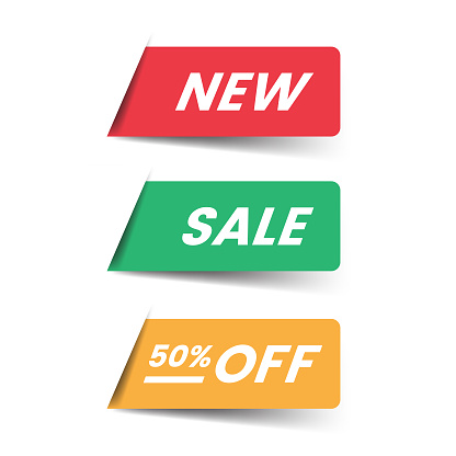 New and Sale Label Icon Flat Design.