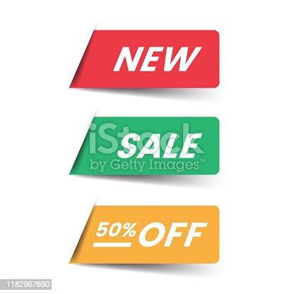 istock New and Sale Label Icon Flat Design. 1182967650