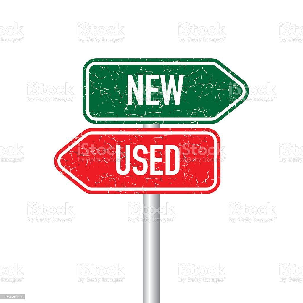 New and used signpost vector art illustration