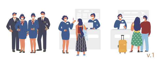 ilustrações de stock, clip art, desenhos animados e ícones de new antiviral flight rules at airport check-in, vector flat illustration - covid flight