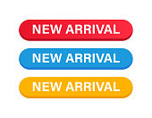 New Arrival Button Color Set. Vector Stock Illustration