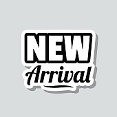 """Icon of """"New Arrival"""" on a sticker with a drop shadow isolated on a blank background. Trendy illustration in a flat design style. Vector Illustration (EPS10, well layered and grouped). Easy to edit, manipulate, resize or colorize. Vector and Jpeg file of different sizes."""