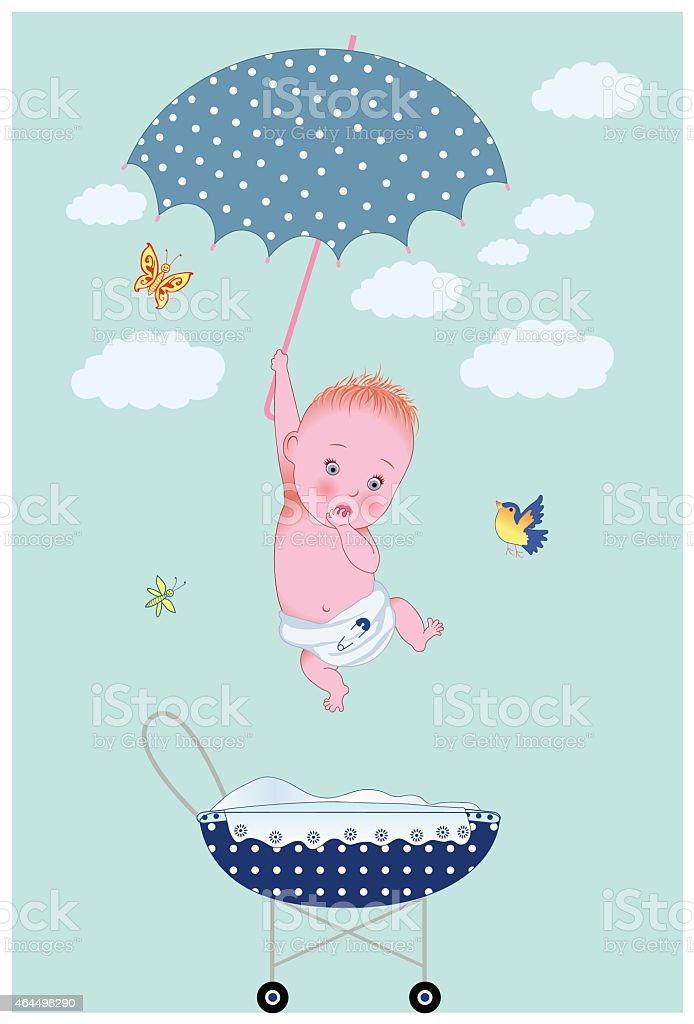 Ilustração De Novo Baby Boy Da Onu Está Chegando Com Guardachuva No