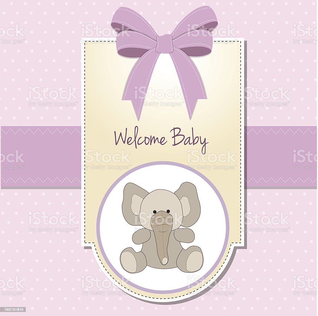 new baby girl announcement card with elephant