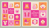 istock New Baby Girl square icons greeting cards 1193547001