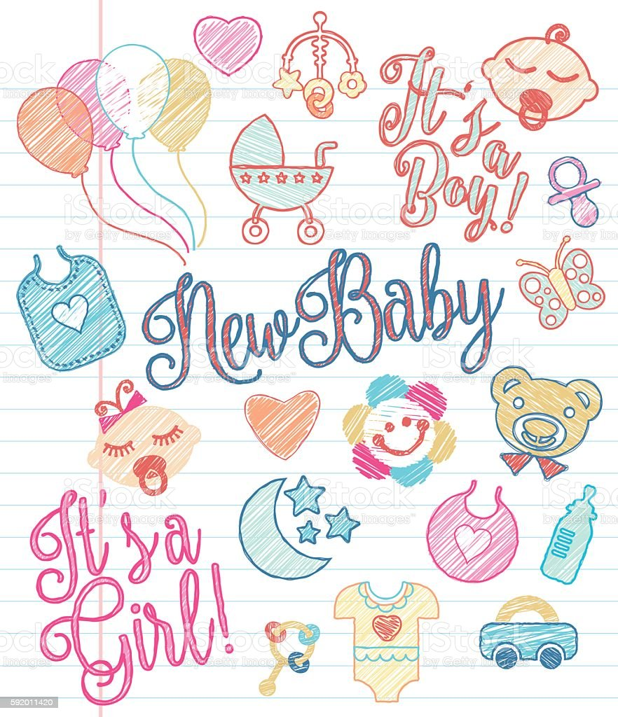 New Baby - Sketchy Icons vector art illustration