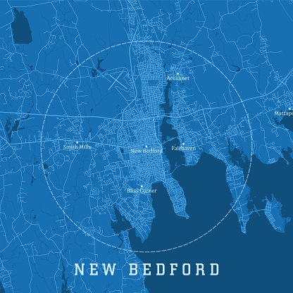 New Bedford MA City Vector Road Map Blue Text